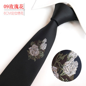 Wholesale Narrow cm Party Wedding Classic Green Embroidery Rose White Magnolia Flower Small Whale Silk Woven Men Tie Necktie H