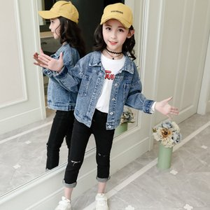2020 Autumn Baby Jean Jacket Korean Fashion Cotton Toddler Boys Girls Pockets Denim Blue Outwear For 4-12Yrs Children Clothes