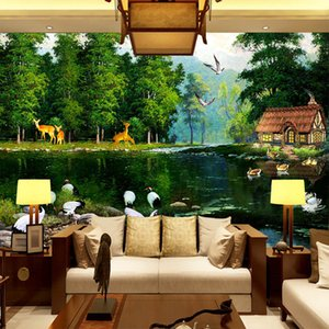 Wholesale garden wallpaper for living room for sale - Group buy Elk seamless large mural wallpaper green forest with animals mural for TV background wall garden living room bedroom