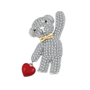 Wholesale Cute Animal Bear Crystal Brooches Sweet Teddy Holding Enamel Red Heart Pins Gold Bowknot Brooch Fashion Women Broch