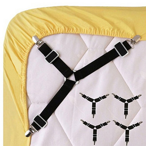 Wholesale 2 White black Bed Sheet Mattress Cover Blankets Grippers Clip Holder Fasteners Elastic Set Sheet