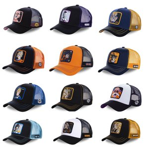 Wholesale New Dragon Ball Z Mesh Hat Goku Baseball Cap High Quality Black Yellow Curved Brim Snapback Cap Gorras Casquette