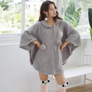Wholesale cape shawls for sale - Group buy Flannel Plush Hooded Women s Cape Solid Thick Warm Shawls Home Bathgown With Socks Winter Autumn Home Clothes