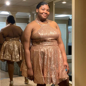 Wholesale 2019 real picture sexy halter gold sequined short prom dress custom made african arabic homecoming dress big girl plus size Party Dresses