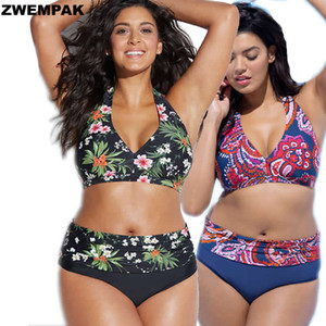 Plus Size XL-4XL Women Bikini set High Waisted Floral Swimsuit Large Halter Swimsuits Big Size Bathing suit Sexy Beachwear