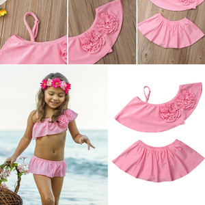 Summer Baby Girls 2PCS New Girls Flower One Shoulder Bikini Set Swimwear Swimsuit Bathing Suit