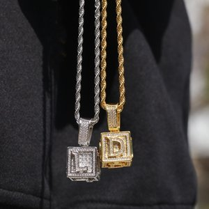 Wholesale gold cubes necklace resale online - Mens Hip Hop Jewelry Iced Out Initial Letter Necklace Pendant Gold Silver Cube Dice Hiphop Necklace