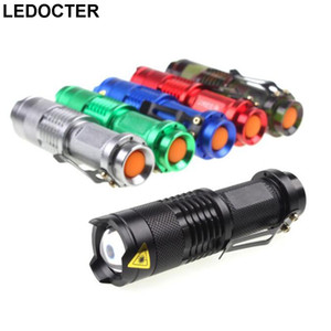 Mini Pocket CREE Q5 Led Flashlight 2000LM Tactical aluminum 3modes Zoomable Waterproof Outdoor Led Torch Flash Light Belt Clip USE 2A 14500