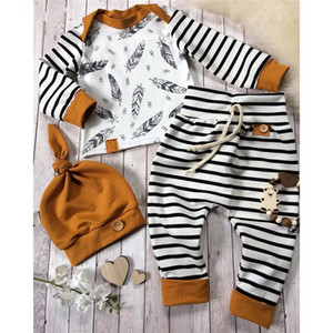Wholesale Newest INS Baby Newborn Baby Boy Girl Clothes Feather T shirt Tops Striped Pants Clothes Outfits 3pcs Set brown Children Clothing Sets