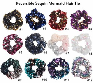 Cute Girl Mermaid Sequin Rubber Hairband Fashion Beautiful Double Colors Girl Hair Accessories New Style Hairband