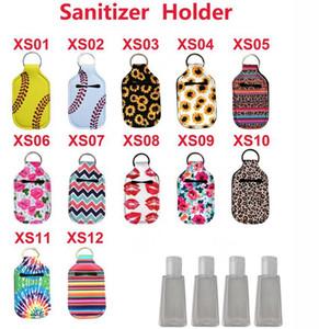 Neoprene Cover hand Sanitizer Holder Baseball Softball Neoprene For 30ML Flip Cap Size Bottle organization Holder with Keychain KKA7727