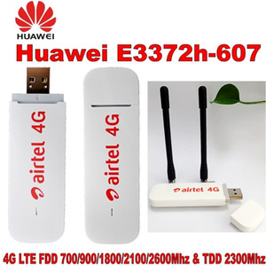Wholesale New Original Unlock HUAWEI E3372 E3372h-607 150Mbps 4G LTE USB Modem Dual Antenna Port Support All Band with CRC9antenna