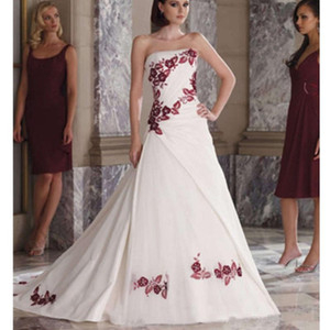 Wholesale Beautiful Satin Embroidery A Line Wedding Dresses Colorful Strapless Applique Custom Made Princess Bridal Gowns