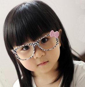 Wholesale Fashion Kids Leopard Sunglasses Frames Retro Kitty Cat Dots Bow No Lens Frame Cool Nerd Geek Glasses Bowknot Glass Frame Girls Accessories