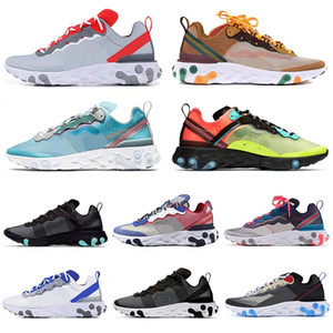 Wholesale Top Sale react element running shoes for men women Moss triple black royal Solar red Orange Peel Mens Trainers sneakers