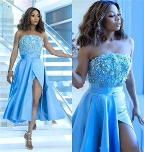 Custom Made Beade Strapless Prom Dresses 2019 High Side Split Sexy Cocktail Party Gowns Tea Length African Special Occasion Dress on Sale