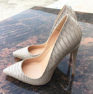 Wholesale Spring New Fashion Grey Serpentine Tip Pointy Toes High heeled Shoes cm Women Pumps Sexy Gray Patent Leather Snake Stiletto Dress Shoes