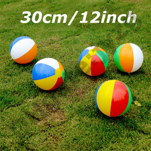 Wholesale 30cm 12inch Inflatable Beach Pool Toys Water Ball Summer Sport Play Toy Balloon Outdoors Play In The Water Beach Ball Fun Gift