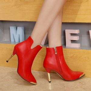 Wholesale Winter new leather red black high heeled fashion ankle boots international women s designer dress wedding model shoes size
