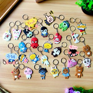 Wholesale 25 kinds of Cute cartoon PVC keychains Animals shape cartoon film key chains promotions gifts for kids students fashion accessories