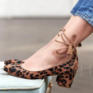 Wholesale Vintage Shoes Lacing Bullock Low Top Chunky Mid Heels Shoes Women s Pumps Round Toe Casual Leather Shoes