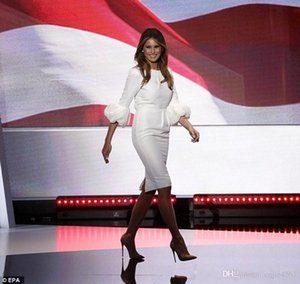 Wholesale 2019 Melania Trump Little White Dresses Sheath Crew Neckline Pleated with Baloon Sleeves And Back Split Knee Length Celebrity Party Gowns