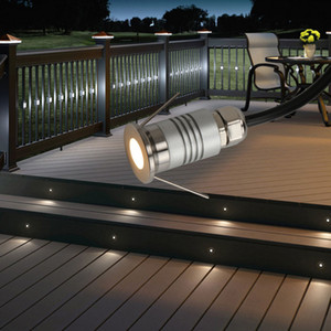 12V 1W Mini Recessed LED Outdoor Garden deck step stairs floor Spot Light Laminate flooring Lamp Terrace lighting IP65 Spotlight Waterproof
