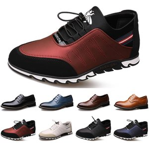 Wholesale 2020 New Arrival Designer men leather casual shoes black navy blue brown Business fashion platform flat party mens trainers sneaker color8