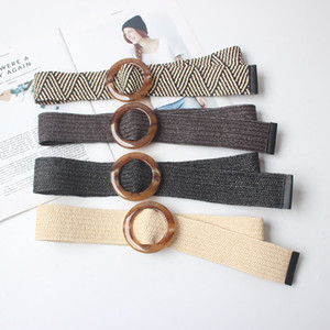 Wholesale Wax Rope Braiding women belt Round Buckle Skirt Belt Woman s Vintage Knitted Waist Woven Female Elastic Braided black