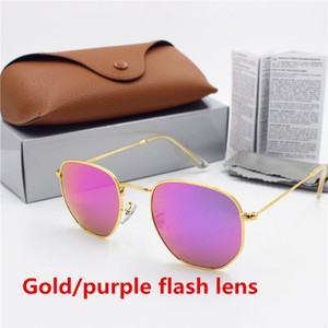 Wholesale New high quality fashion designer retro eye protection YXVAXL brand sunglasses gold frame purple flash glass lens UV400 protection brown box