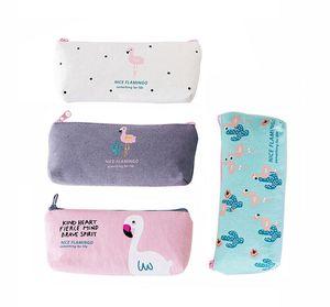 2019 Fashion Creative Flamingo Canvas Pencil Bag Storage Organizer Pen Bags Pouch School Supply Stationery Korean Style office supplies