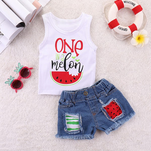 Wholesale baby girl pcs outfits set for sale - Group buy Vieeoease Girls Sets Watermelon Baby Clothing Summer Sleeveless Vest T shirt Denim Shorts Children Outfits CC