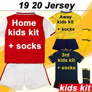 Wholesale 19 Kids Kit Home Soccer Jerseys Away Yellow rd Short Sleeves Boy Girl Football Shirts Fashion Child Uniforms Socks Low price Sales