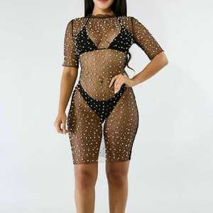 Wholesale Brand New Womens Sexy Crochet Beach Bikini Cover Up Mini Dress Female Sexy Fishnet Swimwear Swimsuit Outfits Cover Up