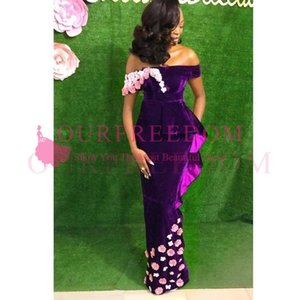 Wholesale 2020 Aso Ebi Style Off The Shoulder Prom Dresses Purple Velvet With 3D Flora Appliques Ruffles Niger Style Formal Evening Occasion Dresses