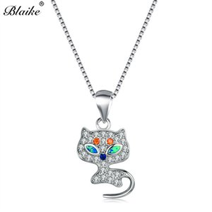 Wholesale Blaike Cute Cat Pendant Sterling Silver Marquise Blue Fire Opal Necklaces For Women Orange White Zircon Choker Girls Jewelry
