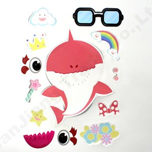 Baby Shark Party Supplies Sticker Game Childern Paster DIY Cartoon Toy Decor Kids Room Wall Decor Car Cellphone Stickers 24pcs Lot A61306