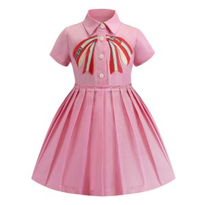 Retail baby girl dresses 2019 embroidered lapel short sleeve cotton pleated skirt dress kids  clothes children boutique clothing