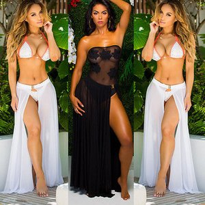 Swimwear Bikini Set Cover Up Sheer Beach Wear Skirt Sarong Swimwear Color Black White And Red Soli Beach Cover Ups