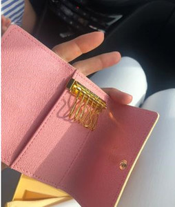 High quality Famous new women men Genuine leather More color classic 6 key holder cover with box dust bag card key ring .