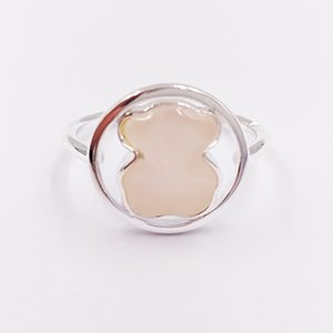 Bear Jewelry 925 Sterling Silver rings Silver Camille Ring With Rose Quartz Fits European Jewelry Style Gift C712165610