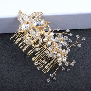 Wholesale Artificial Pearls Crystal Headpieces Headdress Bride Marriage Crown Luxury Queen Crown Ladies Wedding Hair Accessory Princess Headpieces