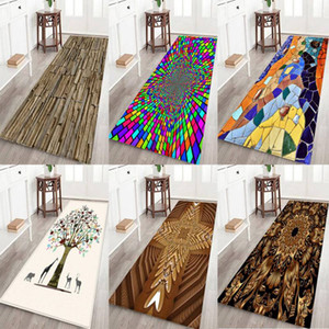 Wholesale Non Slip Water Absorption Mat Carpet D Printed Thickened Flannel Fabric Area Rug Christmas Kitchen Bath Supplies New