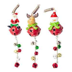 Wholesale Christmas Decorations Supplies Iron Art Christmas Bells Pendant Cartoon Santa Snowman Xmas Tree String Charm Pendant Toy Gifts