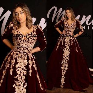 Wholesale 2020 Vintage Burgundy Velvet Kaftan Caftan Evening Dresses with Half Sleeve Gold Luxury Lace Applique Arabic Dubai Abaya Prom Gown
