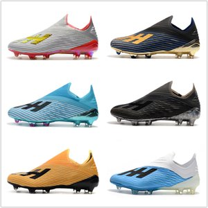 Wholesale 2019 High Quality X FG Mens Soccer Shoes with shoelace Cleats Cheap chaussures crampons de football boots x19 scarpe da calcio