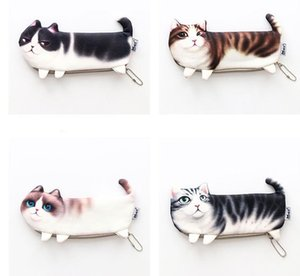 Wholesale Creative cute Three legged cat pencil bag Korean version of the simulation printing cat stationery box storage pencil bag student supplies