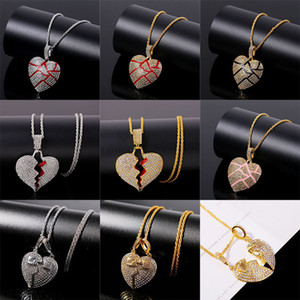 Wholesale broken heart chain resale online - Broken Heart Pendant Necklaces Men s Bling Crystal rhinestone Love charm Gold Silver Twisted chain For women Hip hop Jewelry XL1C143