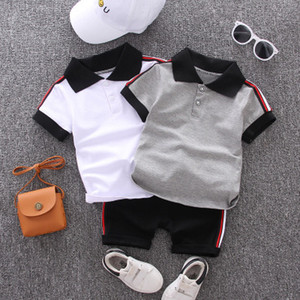 Wholesale boy formal white suit resale online - Baby Summer Suits Boys Preppy Style Two piece Sets Children Casual Outdoorwear Kids Solid Color T shirt Shorts Clothing Sets