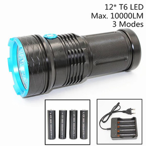 Wholesale 10000 Lumens Waterproof Flashlight XML T6 Led Modes Aluminum Torch Super Brightness White Light for Camping Hunting Battery Charger